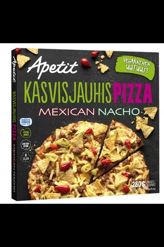 Apetit Kasvisjauhispizza Mecixan Nacho herneproteiinipyörykkä-chili-nachopizza...