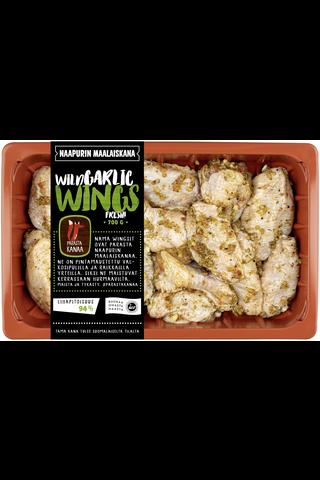Naapurin Maalaiskanan wings, wild garlic...