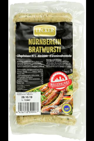 Lecker 200g Nürnbergin bratwursti