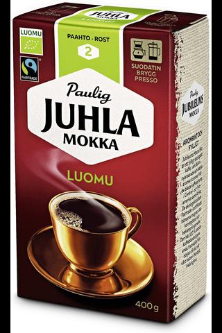 Juhla Mokka Luomu 400g hienojauhettu kahvi Fairtrade, Ekologiskt