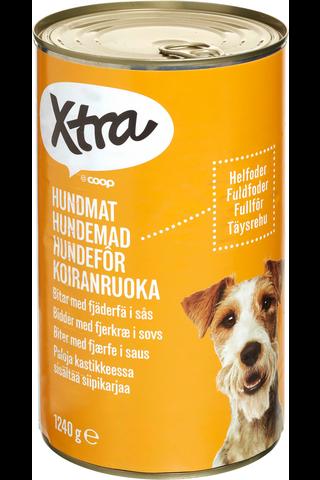 X-tra Koiranruoka paloja kastikkeessa, sisältää siipikarjan lihaa, 1240 g