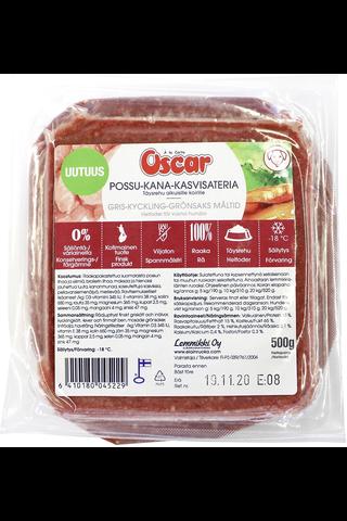 Oscar Possu-kana-kasvisateria raaka täysravinto koirille 500g