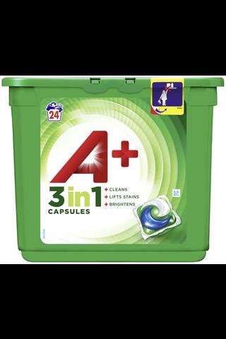 A+ 24kpl 3in1 White nestemäinen pyykinpesutabletti