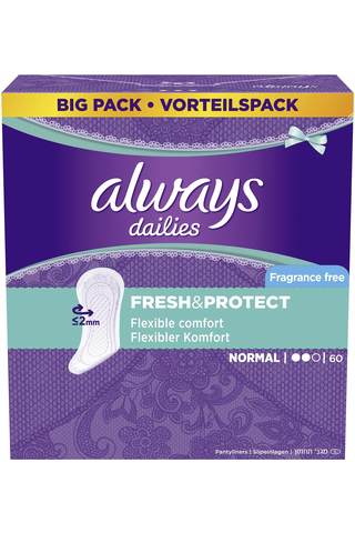 Always 60kpl Normal Fresh&Protect pikkuhousunsuoja