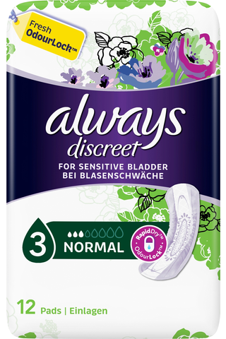 Always 12kpl Discreet Normal Pads inkontinenssiside