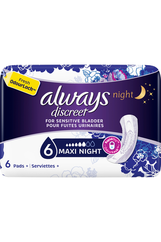 Always 6kpl Discreet Maxi Night Pads inkontinenssiside