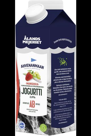 Ahvenanmaan 1kg jogurtti mansikka-karviaismarja-sitruunaruoho