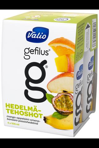 Valio Gefilus tehoshot 4×100 ml mango-appelsiini-omena-banaani-passionhedelmä