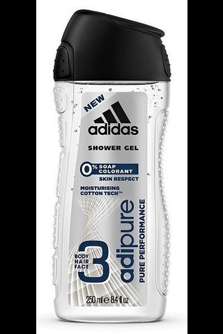 Adidas 250ml 3in1 Adipure miesten suihkugeeli