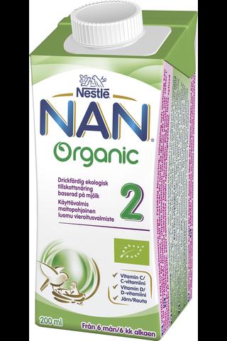 Nestlé Nan 200ml Organic 2 maitopohjainen käyttövalmis luomu vieroitusvalmiste