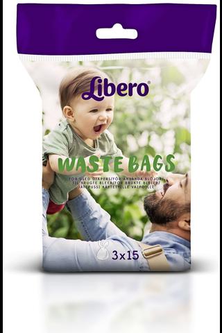 Libero 45kpl jätepussi käytetyille vaipoille