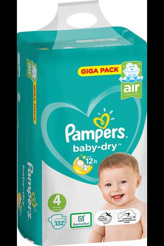 Pampers 132kpl BabyDry S4 9-14kg vaippa