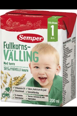 Semper 200ml Täysjyvävelli Kaura, käyttövalmis...